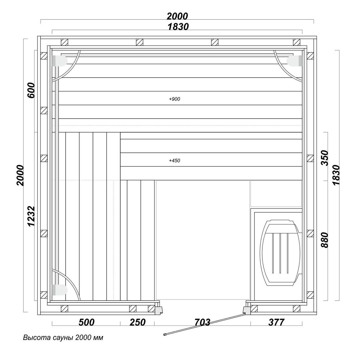 sauna5 - Проект сауны 2 Х 2 М