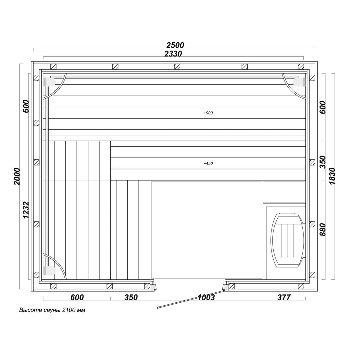 sauna6 - Проект сауны 2,5 Х 2,5 М